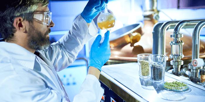 Cervejeiro manuseia insumos para desenvolver as receitas das cervejas